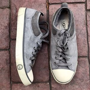 Ugg Gray Suede Fur Lined Sneakers